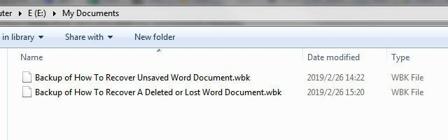 word backup files recover