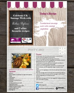 Arthur Pipkins Premium Gluten Free Cumberland Sausage Swirl and Roasted Vegetables