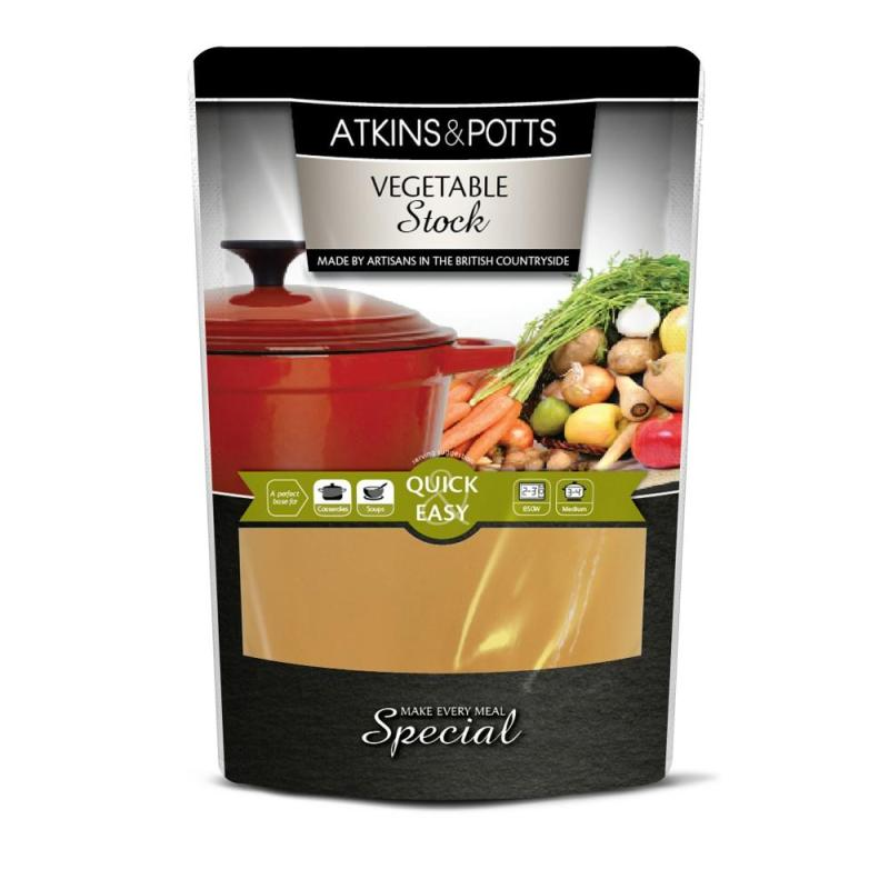 Previous pack design of Atkins & Potts Vegetable Stock