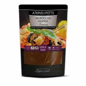 Previous pack design of Atkins & Potts Moroccan Harissa Sauce