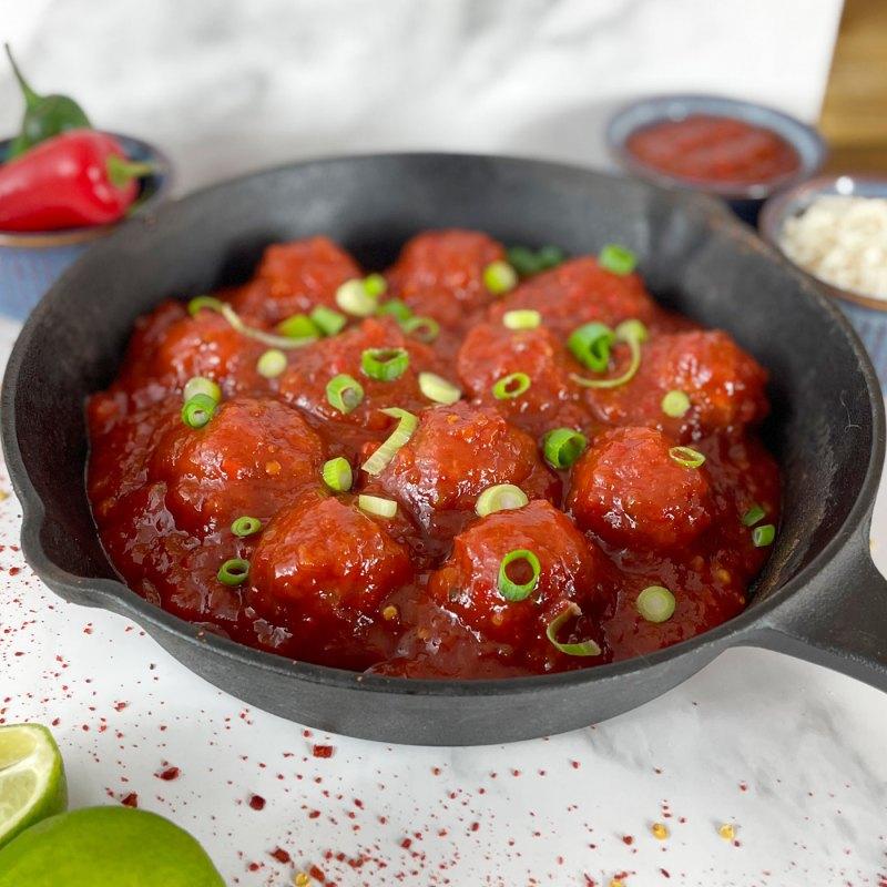 AVO Sweet Chilli Butchers' Sauce on Meatballs