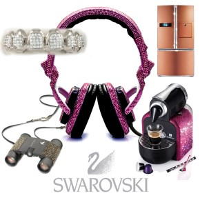 Swarovski Studs Anything That Stands Still. From Bandaids to Bathroom Sinks, Crystallized Items.