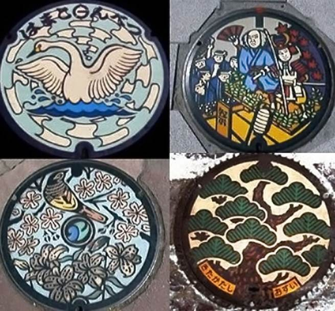 colored japanese manhole covers
