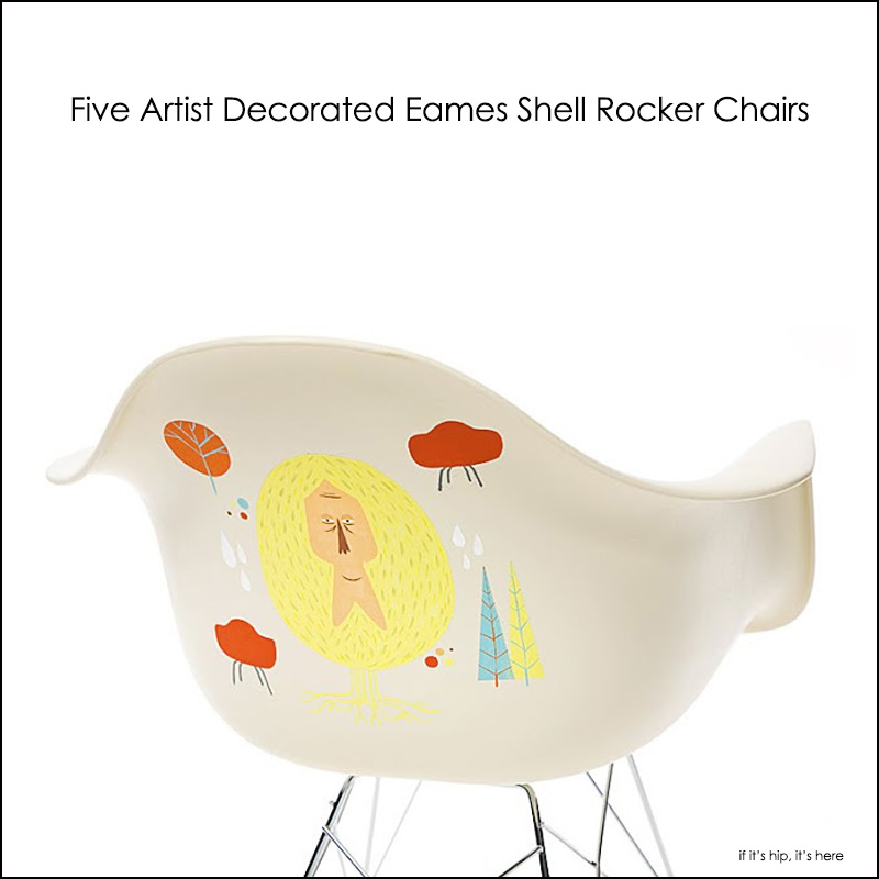 Artist decorated Eames Shell Rocker Chairs