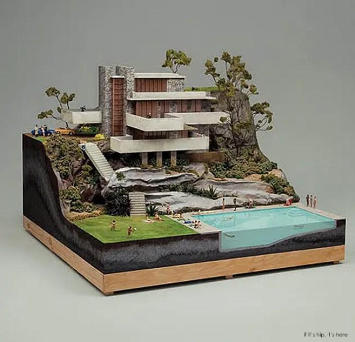 Miniature mid-century architectural models