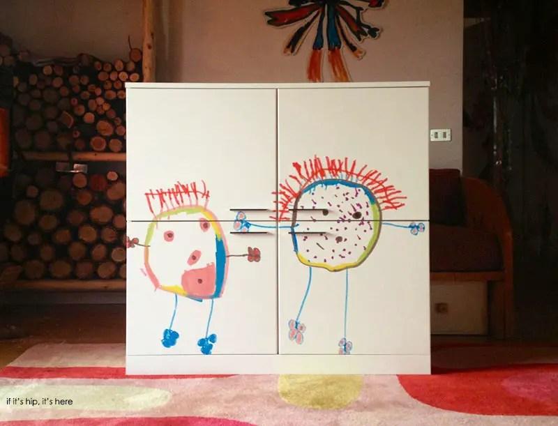 hollo custom child's drawing on cabinet