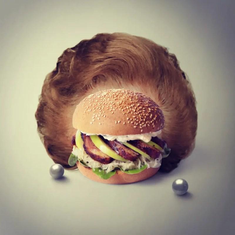The Thatcher Burger. Margaret de canard. Old granny smith. Sauce au raifortme. Parlement rappé. Grosse choucroute. Feuilles d'épinard