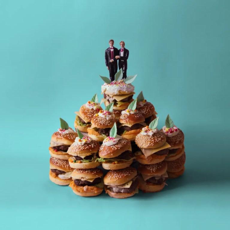 gay burger wedding cake