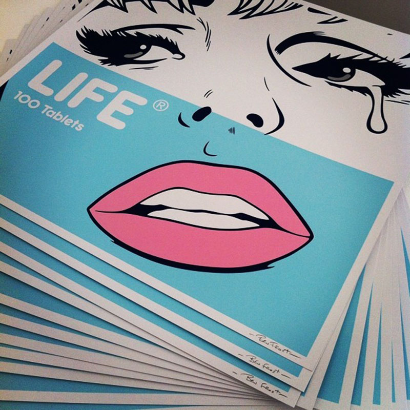Life signed screenprints in blue for nowallsgallery
