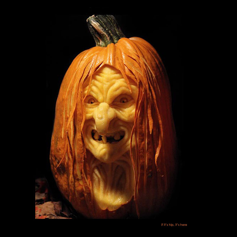 10. Witch pumpkin carving