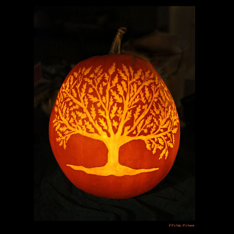 7. Oak Tree pumpkin carving