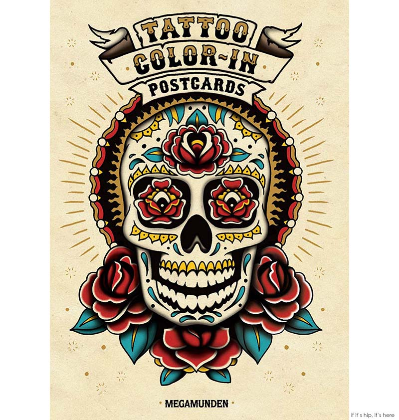 Tattoo color in postcards cover