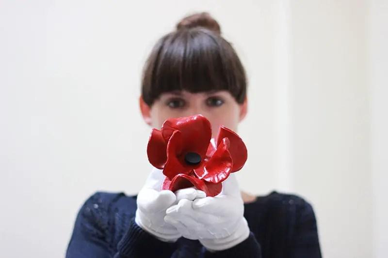 red ceramic poppy for armistice day
