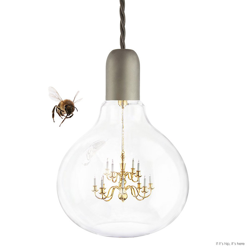 Great Designed by Young u Battaglia of Mineheart the suspended lamp has a functioning tiny LED brass chandelier encased within a clear glass bulb bining old
