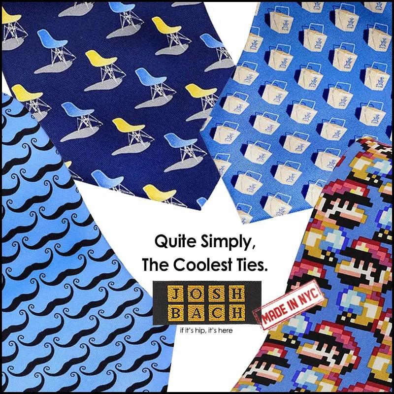 Made in USA Josh Bach Mens Christmas Lights Silk Necktie Blue