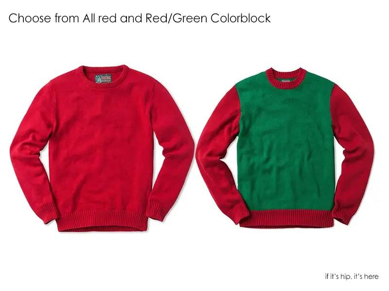 plain red and color block sweater IIHIH