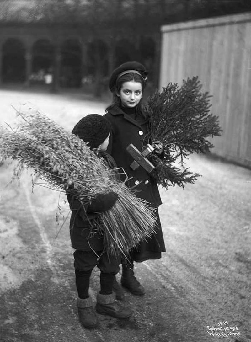 Scandinavian Children Bringing Home Traditional Christmas Decor Exact Year Unknown Courtesy Of The Norwegian Digital Museum