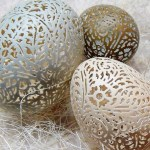 Intricately Hand Etched and Carved Eggshells by Beth Magnuson.