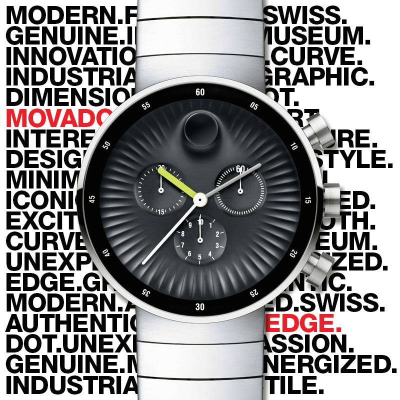 Movado EDGE on text bckgd