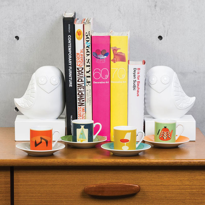 magpie modern espresso set and owl bookends