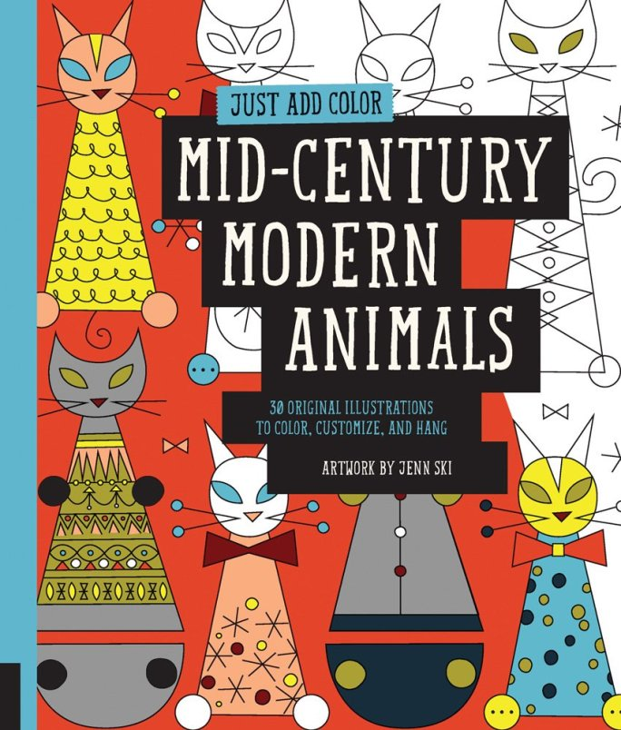 midcentury modern animals coloring book