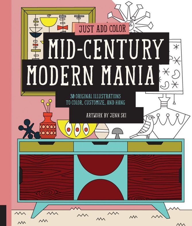 midcentury modern mania coloring book