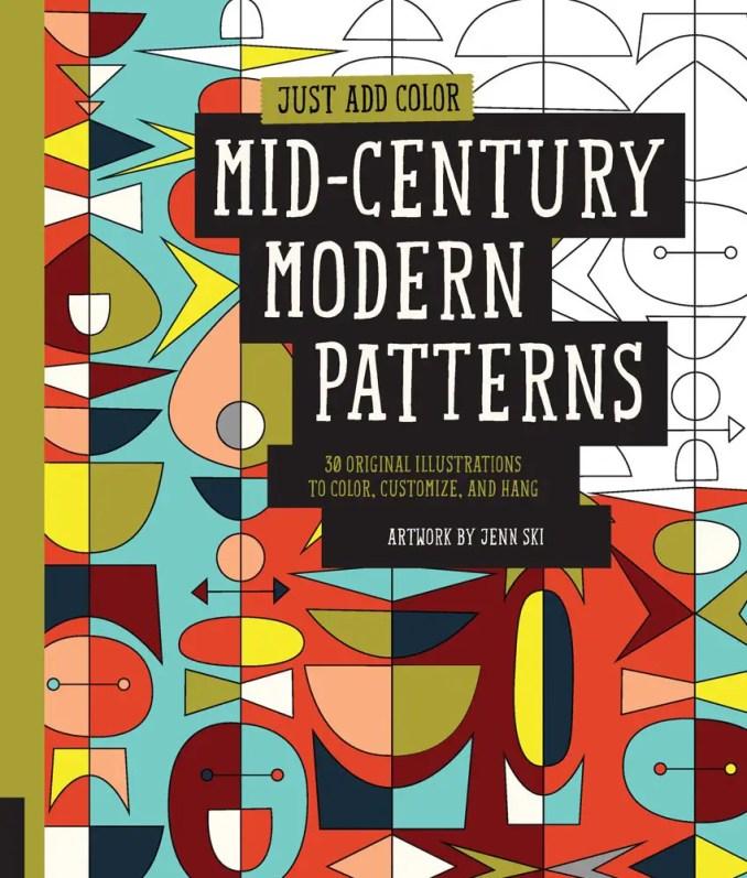 midcentury modern patterns coloring book