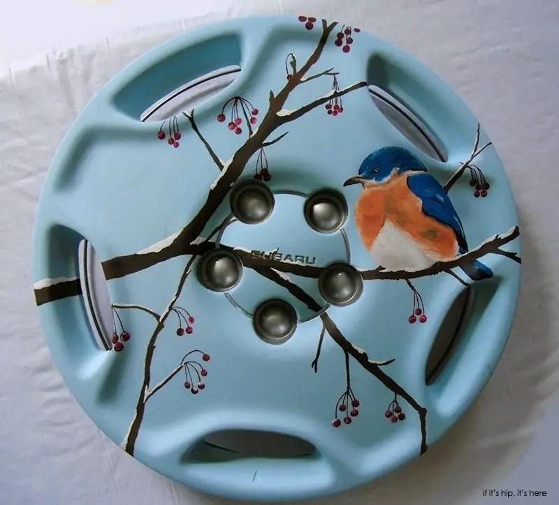 bluebird and berries hubcap