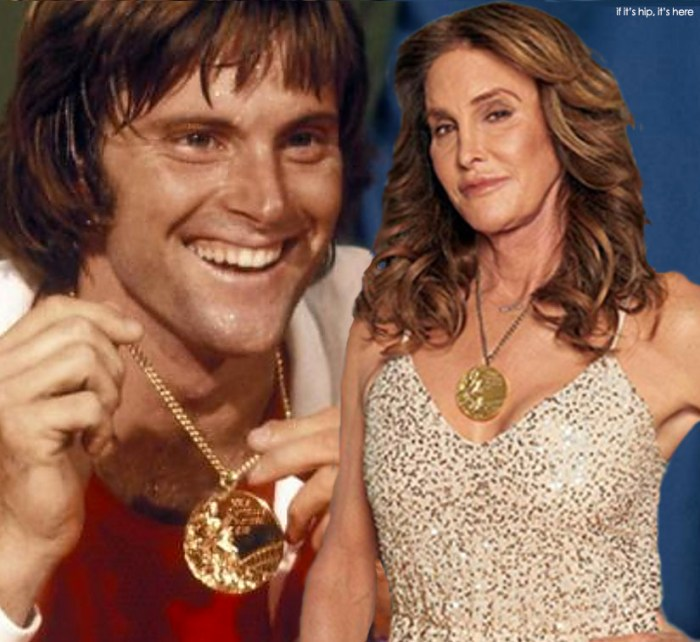 Bruce and Caitlyn donning the 1976 Olympic Gold Medal, then and now.