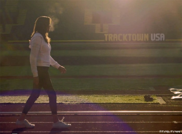 Caitlyn walks the track upon which she trained 40+ years ago