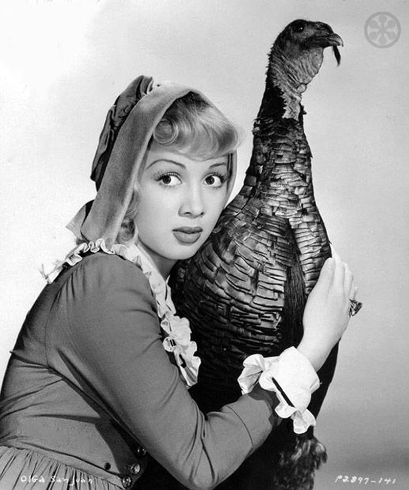 Turkey & Breasts. Vintage Hollywood Thanksgiving PinUps