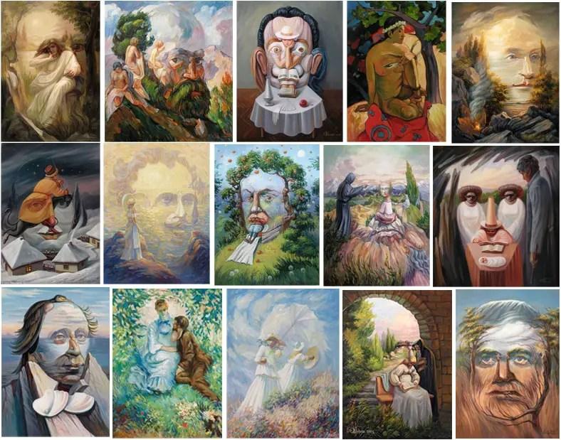 hidden figure paintings by Oleg Shuplyak