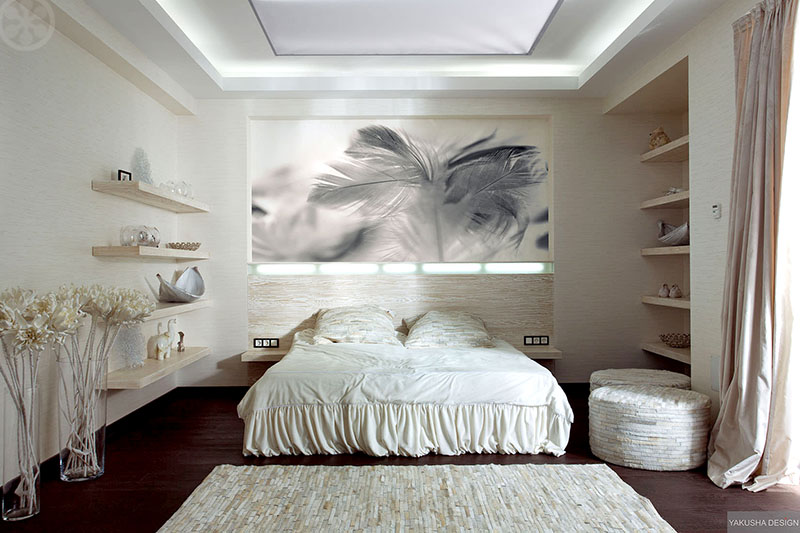 Awesome The bed and shelves are made from a bleached out specially dyed wood The horizontal nature of the room is emphasized with a textured wall covering texture
