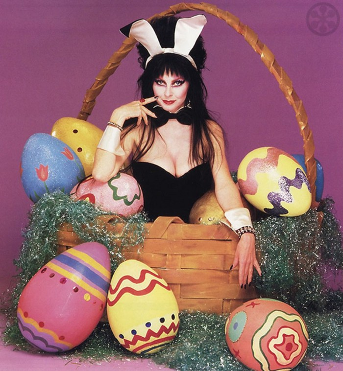 Elvira as a bunny in an Easter basket