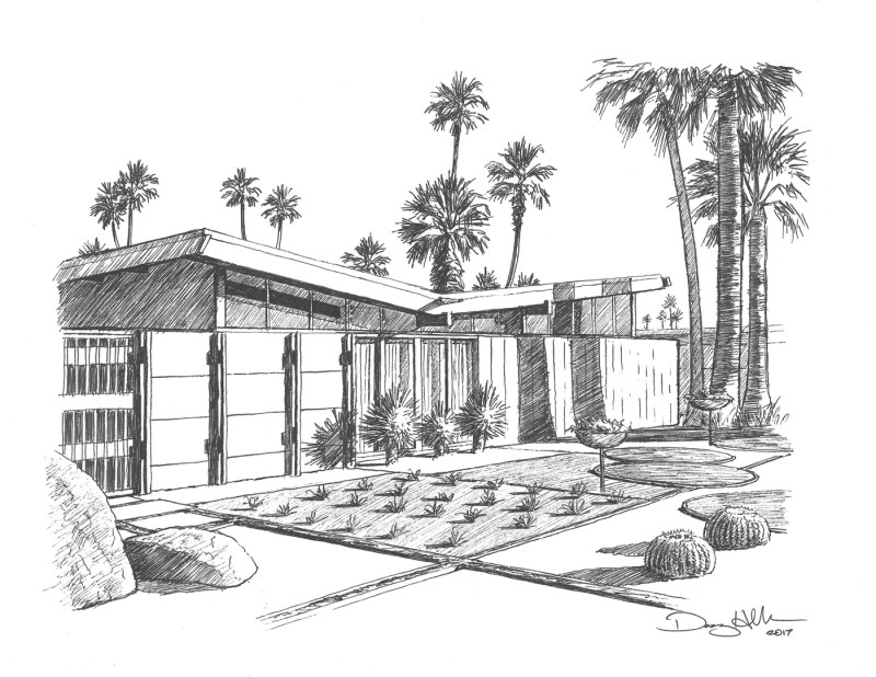 Twin Palms House drawing by Danny Heller