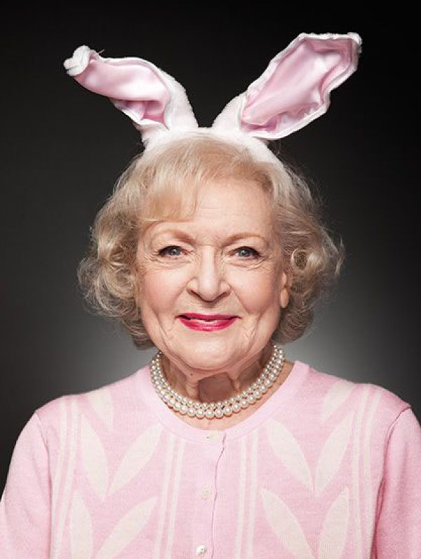 Betty White with bunny ears