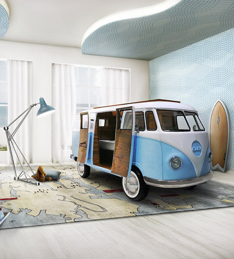 Limited Edition Retro VW Bus Bed for Kids in Blue or Pink     as the icon for freedom  youth and adventure  children may know it  better as    Fillmore  the 1960 s hippie bus    from the Disney    Cars    movie  franchise