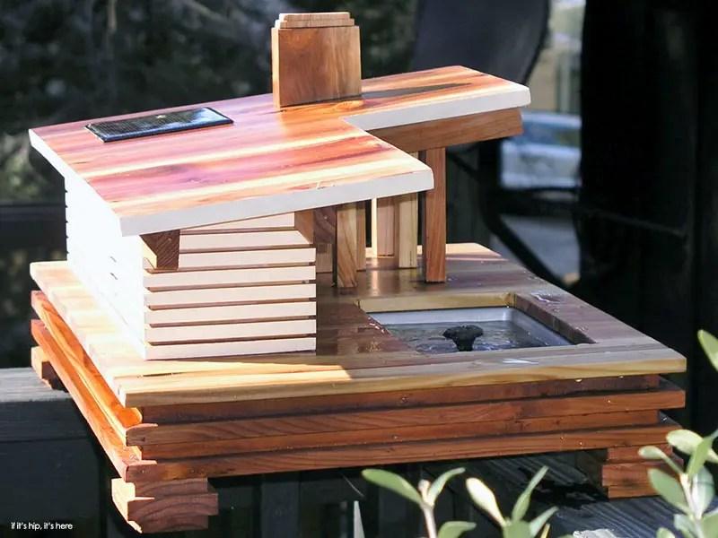The Stahl House Birdhouse With Solar Powered Fountain