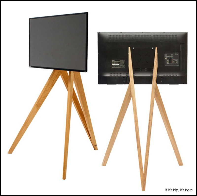 Simple Elegant Wooden Tripod Stands For Tvs And Monitors