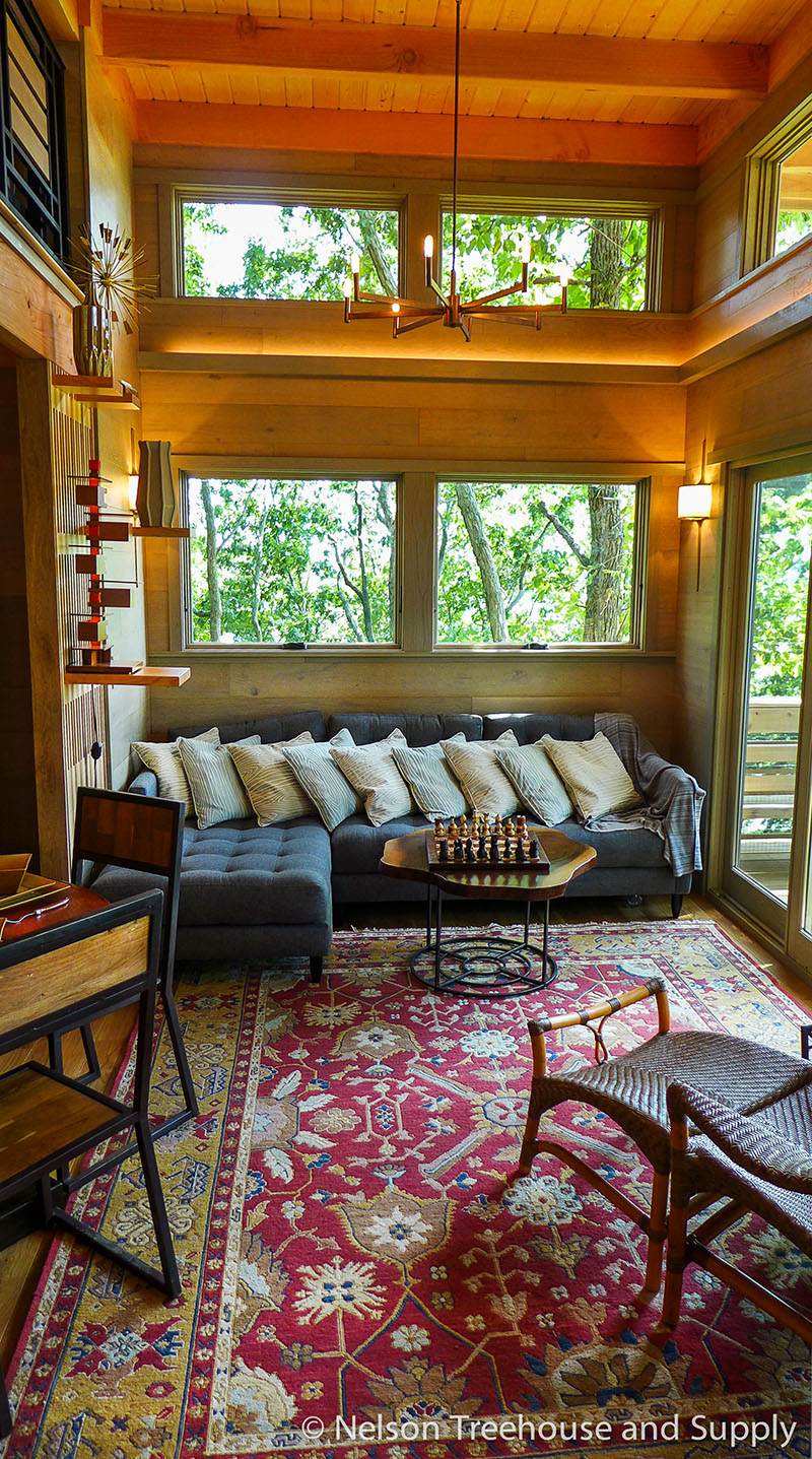 Spectacular 650 sq ft FFrank Lloyd Wright-Inspired Treehouse on