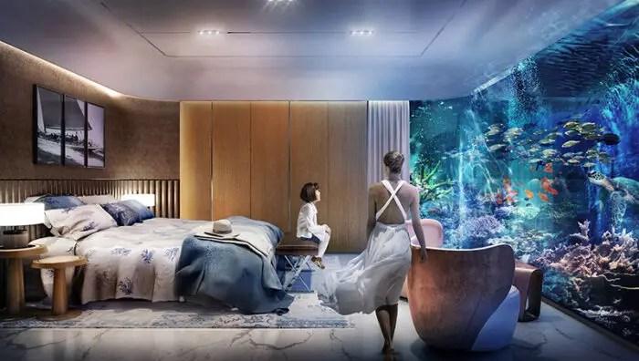 view from underwater bedroom