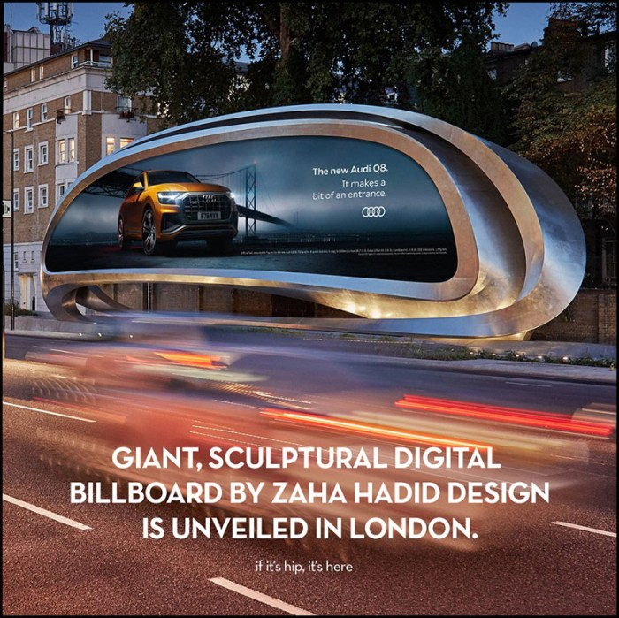 Zaha Hadid digital billboard in Kensington