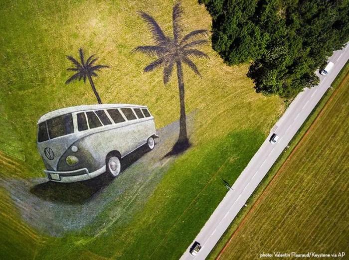 vw bus land art