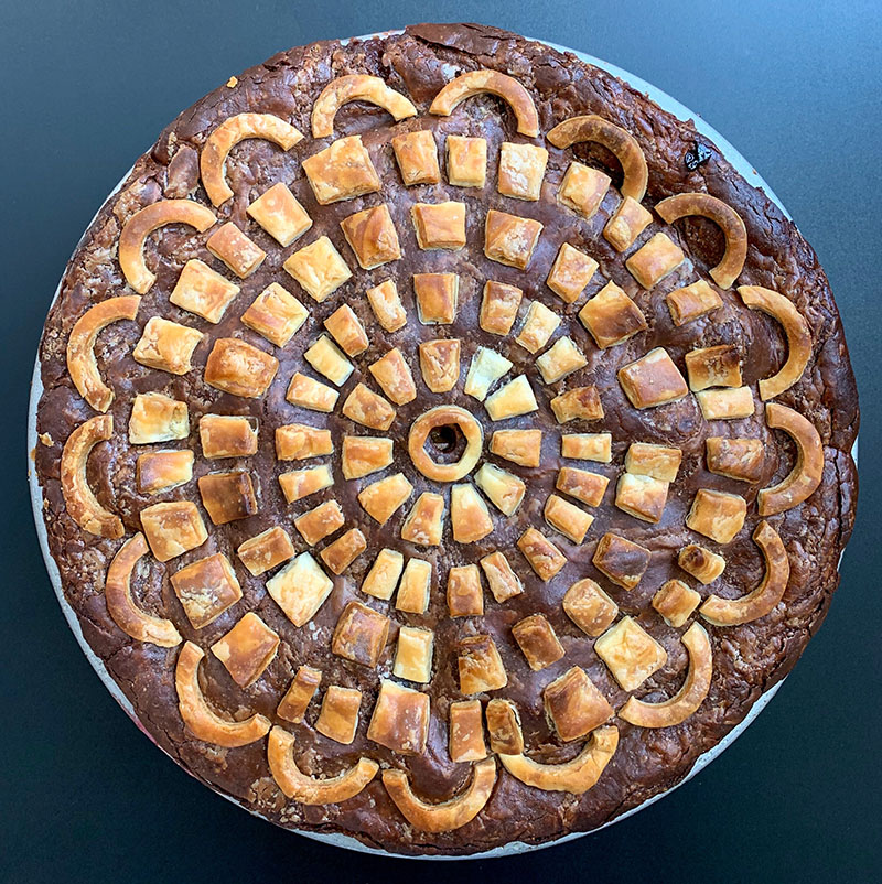 Baked Pizzelle Pie with Italian Plums and Amaretto