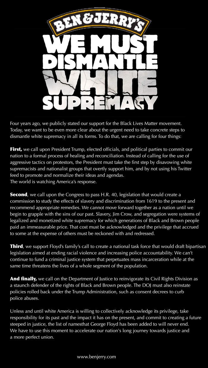Ben and Jerry's call to dismantle White Supremacy
