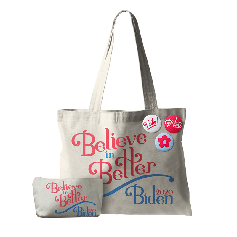 believe in better tote bag and buttons