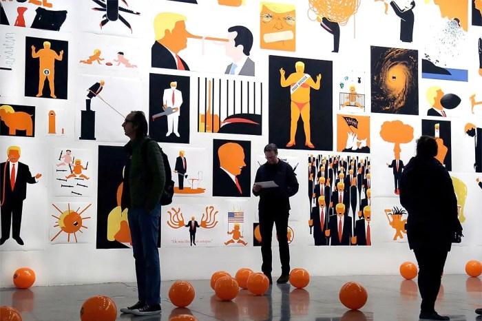 An exhibition of Edel Rodriguez' Trump artwork in Berlin, 2018