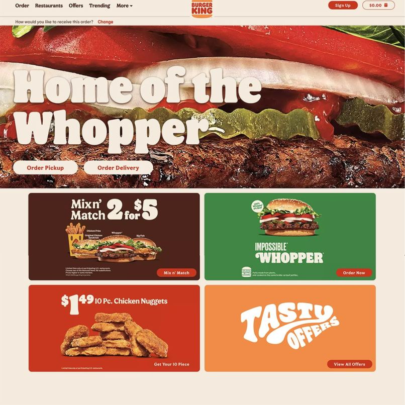 Burger King's new website home page