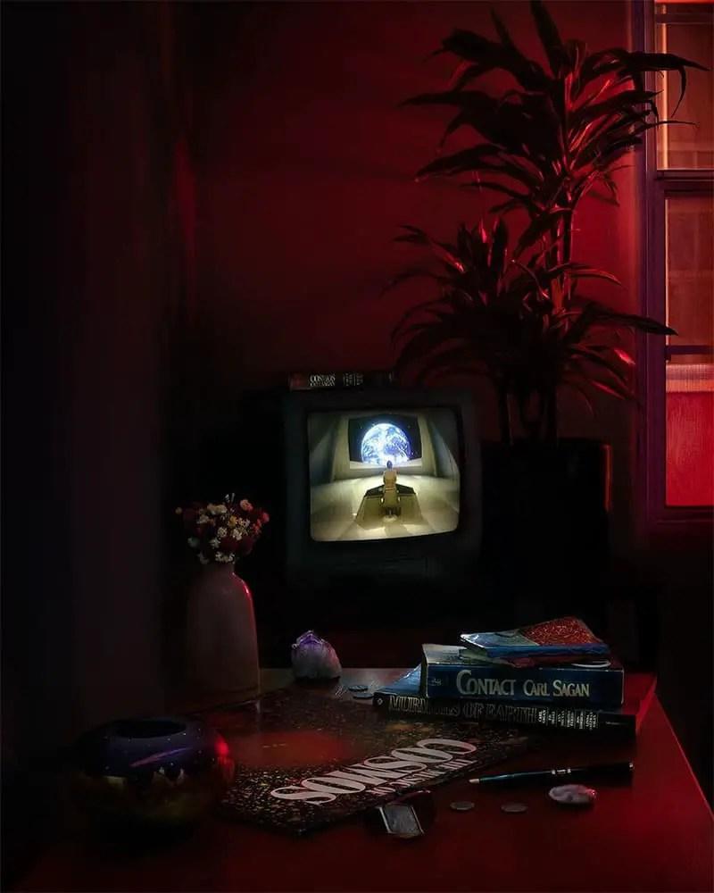 photo of tv in the dark
