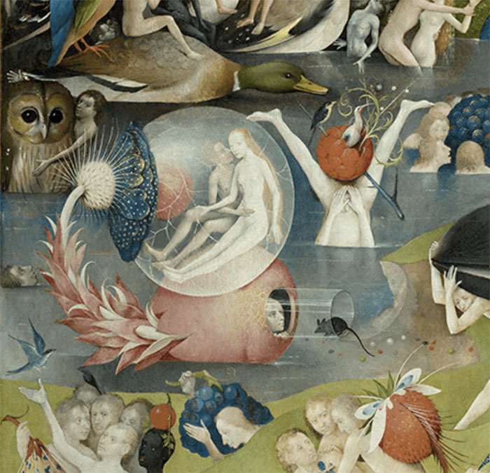 A detail of the bubble in the center panel of Heironymous Bosch's Garden Of Earthly Delights, 1503-4